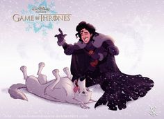 "Jon Snow and Ghost. | If ""Game Of Thrones"" Characters Were Drawn By Disney"