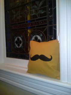 Mustache or Moustache In Mustard 12inch Pillow Sham by SewDogSoYou, $10.00 #RT