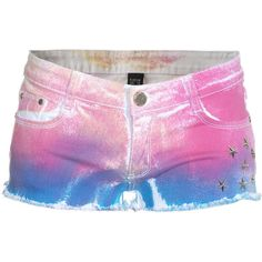 Lpfd Rainbow Stars Tie-Dyed Denim Shorts ❤ liked on Polyvore