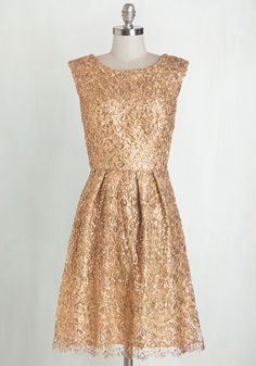 Fun One Like You Dress in Gold - Gold, Prom, Holiday Party, Variation, Woven, Mixed Media, Lace, Solid, Sequins, Special Occasion, Homecoming, Wedding, Bridesmaid, Party, A-line, Cap Sleeves, Mid-length, Top Rated