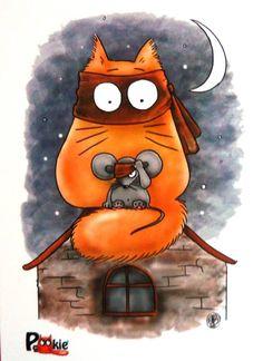 catman_and_robin - Maria van Bruggen♥ I Love Cats, Crazy Cats, Cute Cats, Image Chat, Pusheen Cat, Matou, Cute Paintings, Cat Quilt, Cat Mouse