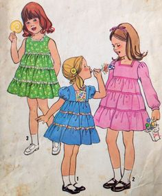 Simplicity 8429 UNCUT Girls Dresses by Lonestarblondie on Etsy