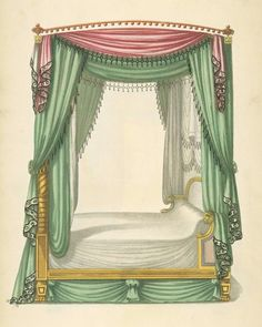 1805-1806 Canopy bed with pink and green drapery.  Thomas Sheraton (1751-1806)