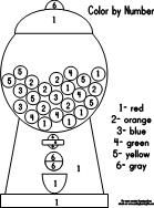 Gumball Machine Coloring Page | Color by Number with Gumball Machine