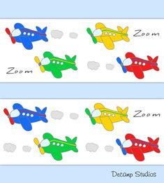 AIRPLANE NURSERY DECOR Decals Baby Boy Wall Art Wallpaper Border Kids Sticker Room
