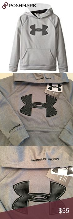 Under Armour UA Big Logo Fleece Hoody The Under Armour Boy's Armour Fleece Big Logo Hoody is UA's original performance replacement for old-school sweatshirts: unbelievably light, but somehow keeps you really warm. If that wasn't enough, its stretchy, breathable & features UA Storm to keep off the rain & snow.Front kangaroo pocket.Fit: Fuller cut for complete comfort.Import. Under Armour Shirts & Tops Sweatshirts & Hoodies