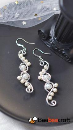 Wire Jewelry Patterns, Wire Jewelry Designs, Handmade Wire Jewelry, Earrings Handmade, Jewelry Crafts, Jewelry Accessories, Bijoux Wire Wrap, Wire Wrapped Earrings, Diy Earrings Pearl