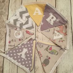 Personalised girls woodland themed bunting. #neutralnursery #bunting #personalisedgifts #greynursery Make And Sell, How To Make, Nursery Neutral, Bunting, Woodland, Personalized Gifts, Gift Wrapping, Girls, Design