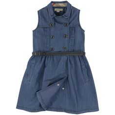 Cotton denim Shoulder patches Close fitting top Flared hem Flat pleats on the front Gather detail under the waist Slant front pockets Invisible snap buttons on the front Double button strap on the front Leather belt Detachable belt Branded buttons Check details - 14 £109