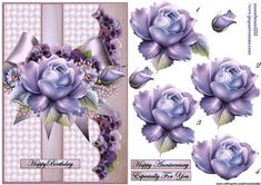 Roses Violets and Satin Bow on Craftsuprint designed by Marijke Kok - Gorgeous…