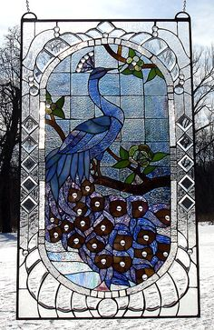 """Gorgeous!  Created by C. H. Valhalla is a stunning blue peacock and measures 34"""" high by 20"""" wide."""