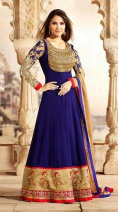 Lara Dutta In Royal Blue Floor Length Anarkali Suit 3H50505