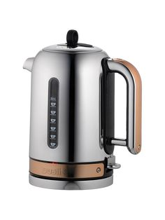 Dualit& Classic Kettle is a fully repairable, powerful kettle featuring patented Whisper Boil and a replaceable element. Available with a choice of colour finishes, buy with the iconic Classic Toaster for the perfect. Kettle And Toaster, Water Drip, H & M Home, Kitchenaid, Copper Color, Polished Chrome, Timeless Design, Brown And Grey, Kitchen Appliances