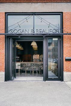 APPAREIL architecture signe son premier projet de restaurant avec l'ouverture du Hoogan & Beaufort au Technopôle Angus, à Rosemont - Index-Design.ca Index Design, Project Proposal, Signs, Boutiques, Montreal, Restaurants, Garage Doors, Join, Architecture