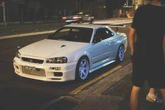 white Nissan R34 Skyline GTR