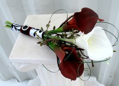 Blue Cala-Lily and Black orchid or vise versa    Bridal bouquet real touch red white calla by BrideinBloomWeddings, $40.00