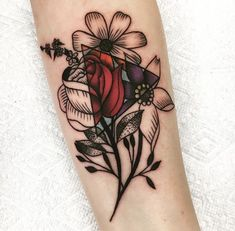 sunflower, purple rose, pink rose, triangle color inside/outside bw