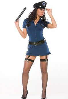 Bad Cop Sexy Female Police Officer Halloween Costume in Sexy Cops and Robbers Costumes: 5 Piece. Sexy button up stretch mini dress with PVC belt, handcuff garters, cloth cop hat, and Billy club. Police Officer Halloween Costume, Sexy Cop Costume, Cop Halloween Costume, Halloween Outfits, Girl Costumes, Costumes For Women, Cosplay Costumes, Fun Costumes, Costume Parties