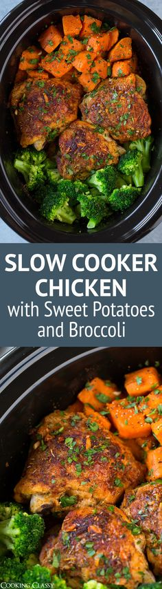 This Slow Cooker Chicken with Sweet Potatoes and Broccoli is perfectly easy to make yet it's so deliciously satisfying! A great meal any day of the week! T