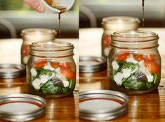 A caprese salad in a mason jar! 30 Mason Jar Foods and Recipe Ideas   Food Crafts   via putitinajar.com