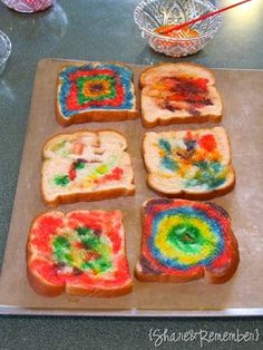 Let your kids paint their toast!  It says to mix milk with food coloring, but I think colored coconut butter might be cool too!