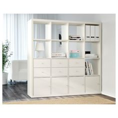 KALLAX Shelf unit - white - IKEA - You can use the furniture as a room divider because it looks good from every angle Etagere Cube Ikea, Etagere Kallax Ikea, Ikea Kallax Shelf Unit, Ikea Shelves, Ikea Storage, Wall Storage, Glass Shelves, Shelving Units, Storage Cubes