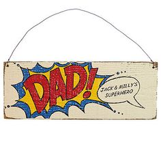 Personalised Comic Book 'Dad' Sign