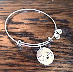 Custom State to State Bangle Bracelet Choose Your States-long distance relationship USA Bracelet State Bracelet girlfriend gift BFF