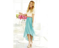 hi low turquoise skirt and lace top via LC Lauren Conrad Modest Outfits, Modest Fashion, Cute Outfits, Dress Fashion, Modest Clothing, Modest Dresses For Teens, Maxi Outfits, Apostolic Fashion, Muslim Fashion