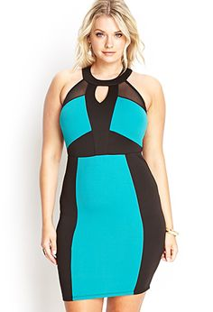 A NICE Vegas Dress...  Colorblocked Scuba Knit Dress | FOREVER21 PLUS - 2000061861