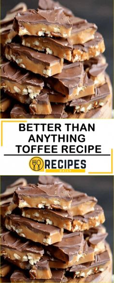 Better Than Anything Toffee Recipe - Daily Recipes - food - Desserts Köstliche Desserts, Delicious Desserts, Dessert Recipes, Yummy Food, Cupcake Recipes, Healthy Desserts, Holiday Baking, Christmas Baking, Toffee Candy