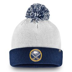 64e77b66bb0 Men s Buffalo Sabres Fanatics Branded White Depth Cuffed Knit Hat with Pom
