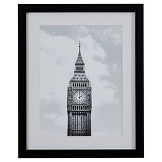 "Amazon.com: Modern Black and White Photo of Big Ben, Black Frame, 18"" x 22"": Wall Art"