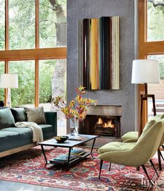Looking for design ideas and tips? Luxe Interiors + Designs has a huge library of the latest trends in luxurious home designs from across the United States. Living Room Orange, My Living Room, Home And Living, Living Spaces, Modern Living, Cozy Living, The White Company, Banquettes, Fireplace Design