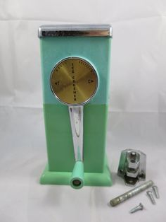 Ice Crusher Magic Hostess Turquoise Wall Mount 1950's Hand Crank Patio Cottage Camping RV Kitchen Bar Tool Retro Mid Century Barware