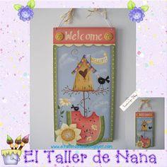 El Taller de Nana: Bienvenido en Pintura Country Watermelon Crafts, Pintura Country, Naha, Christmas Ornaments, Holiday Decor, Summer, Home Decor, Craft, Kids Rooms
