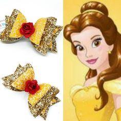 Belle hair bow beauty and the beast hair bows belle hair clip yellow and red hair bow girls hair bow belle fancy dress belle costume Hair Gold Hair Bow, Glitter Hair, Red Hair, Gold Glitter, Glitter Fabric, Diy Leather Bows, Belle Hairstyle, Updo Hairstyle, Prom Hairstyles