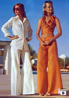 1975 summer fashion: Wide Leg Pants & Wide Sunglasses...Sharp White Collar or Orange Ruffles with Polka Dots