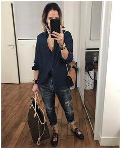 "7,587 Likes, 90 Comments - Audrey (@audreylombard) on Instagram: ""Bon .... bah Noir et blanc quoi  Bonne soirée! • Earrings #adelineaffre (from @adelineaffre) •…"""
