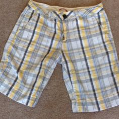 😱FINAL DAY 😱Plaid Shorts Yellow and grey plaid shorts with button waist, belt loops and faux back pockets.  Sized as an 11 Unionbay Shorts