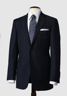 Mahogany Collection Navy Fine Line Check Suit
