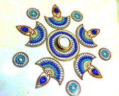 Rangoli, Kundan Rangoli, Diwali, Acrylic rangoli, Diya Rangoli, Indian Rangoli, Kolam, Navratri, Wedding centerpiece, Floor Art RG345a
