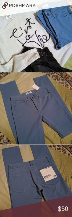 """🆕American Apparel Jeans Gorgeous pair of American Apparel Jeans to add to your collection!  Color - China Blue Style - The Skinny Jean Button fly NWT - tiny manufacture mark on front leg (photo 4)  Measurements laid flat: Total length = 42.5"""" Inseam = 33"""" Waist = 14"""" Front rise = 8"""" Back """" = 11"""" Leg opening = 6""""  98% cotton/2% elastane Machine wash cold / Hang dry  MSRP $105.00 American Apparel Jeans Skinny"""
