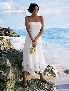 Tea Length Handkerchief Wedding Dresses 2013 Summer Casual Beach Bridal Dresses US $100.00