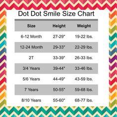 Dot Dot Smile Shoppe Size Chart! #dotdotsmile #dresses