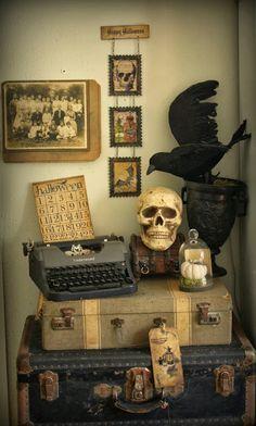 lovely vignettes, halloween vignettes, suitcas