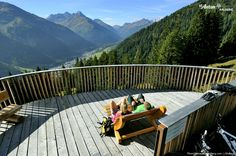 Take a break! Beautiful views are guaranteed for hikers and bikers in St. Anton am Arlberg Tirol Austria, Take A Break, Anton, Bikers, Outdoor Furniture, Outdoor Decor, Switzerland, Summer, Beautiful
