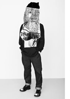 Druid Road AW14  Returning for his second season at Fashion East installations, Kent boy Liam's still drawing his dappled tipple from a strange brew of strong British culture clashes, this time pulling focus on folksy Pagan druids, scuzzy good time boy roadies and, in no small way at all, Gorilla Tape. Ideologically, nothings changed …