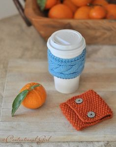 now here are some coffee cozy's I think I can knit.....some of the ones I've seen on Etsy too difficult to knit for this newby