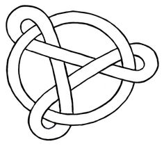 Line art version of loop with three twists intertwined with a circle